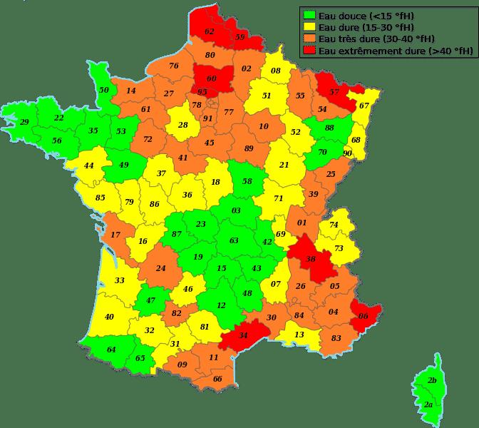 Carte de France de la dureté (calcaire) des eaux